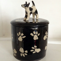 Gift for dog lovers, a stoneware storage jar or container with dog lid