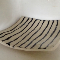 Plate in pottery stoneware with black abstract design