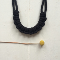 Black knotted rope necklace no.2