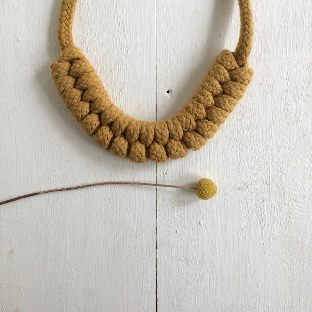 Mustard knotted rope necklace no.1(large)