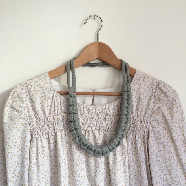 SALE. Light grey larks head necklace