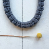Slate grey larks head necklace