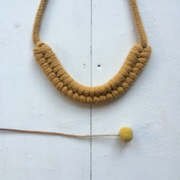 Mustard double figure eight necklace