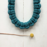 Teal larks head necklace