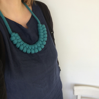 Teal double figure eight necklace