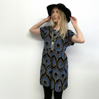 Grunge babydoll dress 90s african print smock dress hippie slouchy loose tribal