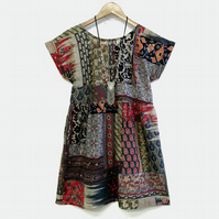 Patchwork grunge smock dress 90s hippie slouchy loose babydoll dress short mini