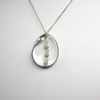 The Mobius Loop in Sterling Silver with Swarovski Frosted Beads