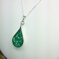 Sterling Silver Teardrop Pendant Necklace with Green Crushed Sea Shell