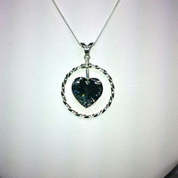 Sterling Silver Twisted Halo Swarovski Heart Pendant Necklace