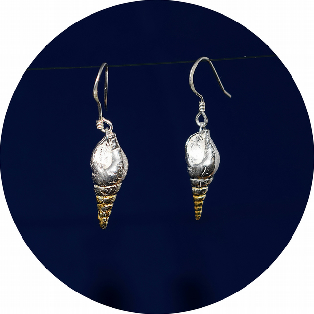 Silver Spiral Shell Drop Earrings in Fine Silver with 24ct Gold Plating