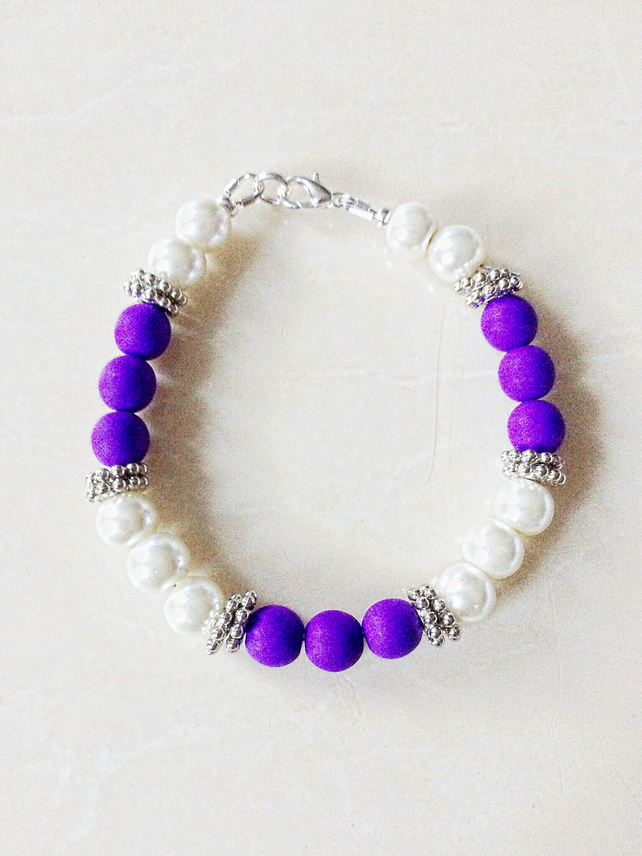 Glass Pearl and Neon Purple Beaded Bracelet