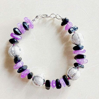 Colourful Amethyst and Stunning Silver Watermelon Bracelet with Earrings
