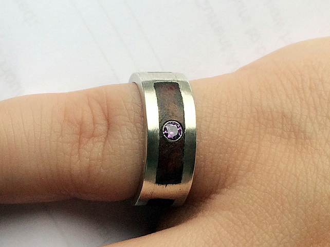Black Walnut Inlay in Sterling Silver with Amethyst and Cubic Zirconia Ring
