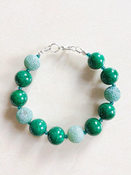 Green Fire Agate and Green Marble Bracelet and Matching Earrings.