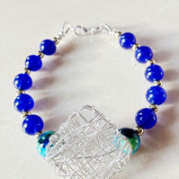 Silver Mesh Blue and Turquoise  Statement Bracelet