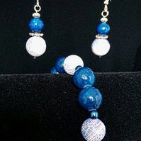 Blue Fire Agate and Blue Marble Bracelet and Matching Earrings