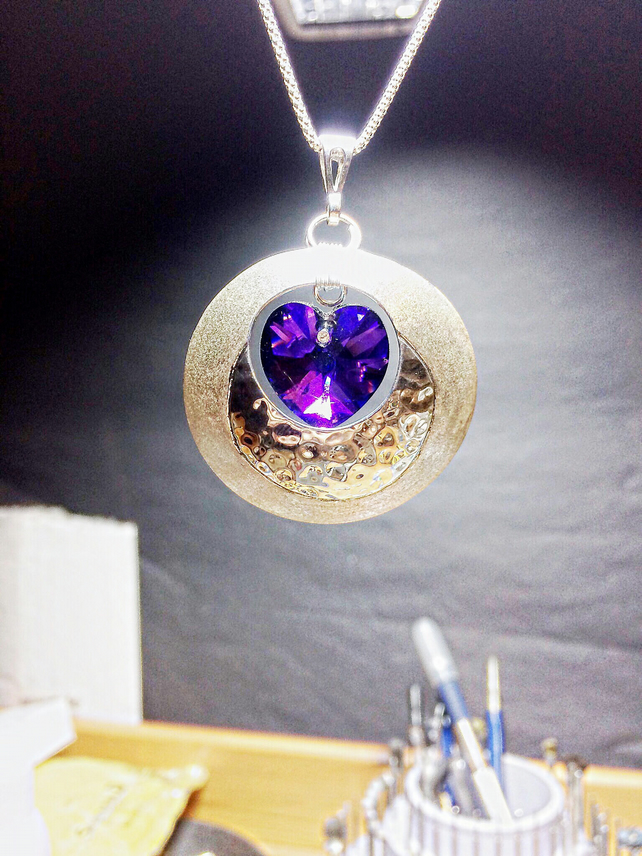 Domed Sterling Silver Pendant Necklace with a Swarovski Heart in Purple