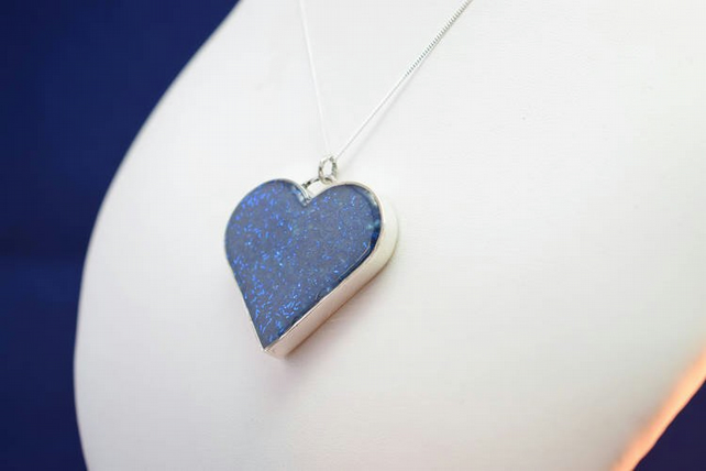 A Blue Shell Resin and Sterling Silver 'Heart of Ice' Pendant Necklace
