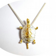 Fine Silver Jewellery - Silver Turtle Pendant Necklace - 24k Gold Highlights
