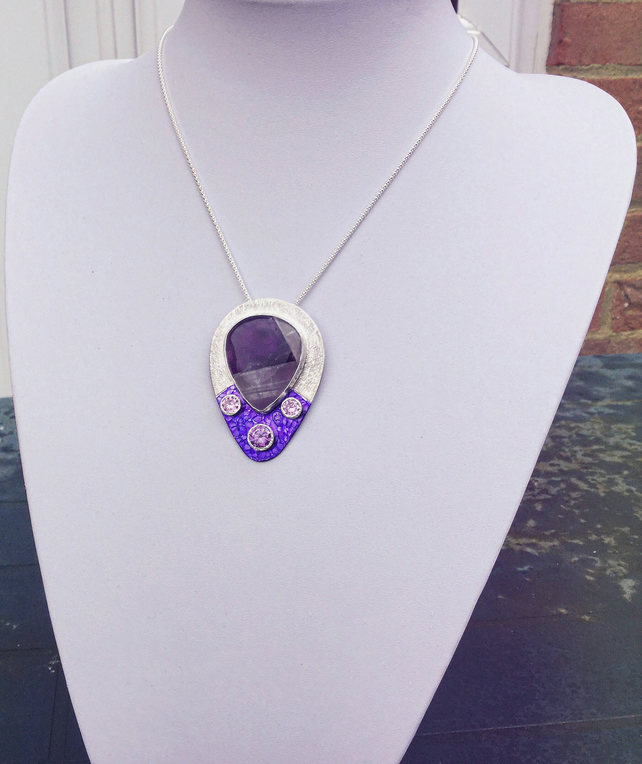 Purple Banded Agate Pear Teardrop Pendant Necklace