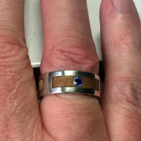 Satin Double Gallery Ring in Silver inlaid with Wild Scottish Wych Elm Bur