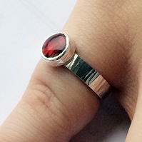 Red Round Paua Shell Sterling Silver Ring on Bark Effect Silver Band