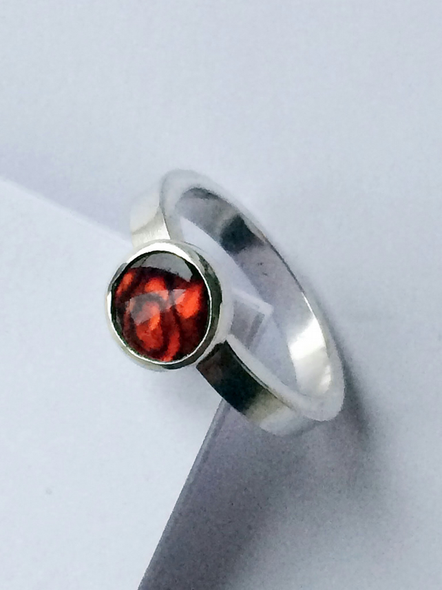 Red New Zealand Paua Shell Ring Set in Sterling Silver