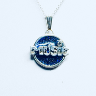 Handmade Sterling Silver Pendant with detailed 'MUSIC' logo set in Blue Glitter