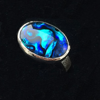 Hand Textured Sterling Silver Ring Band Large Vivid Blue Paua Shell Oval Ring