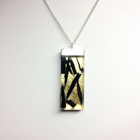 Rectangular Resin Pendant with Ebony Shards with Gold Leaf