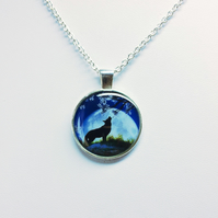 Wolf in the Moonlight Pendant Necklace