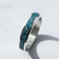 Genuine Turquoise Sterling Silver Channel Inlay Ring