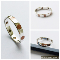 Copper Inlaid Dots In Handmade Sterling Silver Ring