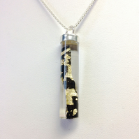 Resin Encased Ebony Wood with Gold Leaf . Sterling and Fine Silver Pendant Cap