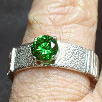 Green Cubic Zirconia Ring on a Sterling Silver Textured Ring Band