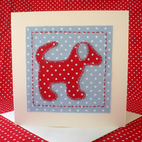 Spotty Dog applique card - handsewn