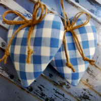 Pair padded heart door hangers in Laura Ashley blue gingham