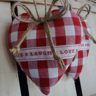 Two heart door hangers in Laura Ashley red gingham