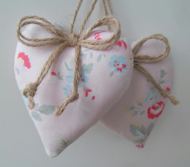 Pair of heart hangers in pink Kidston fabric.