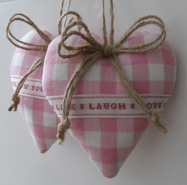 Pair heart door hangers pink Laura Ashley gingham