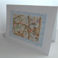 Three pack notelet cards London street map