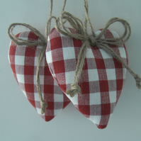 Scarlet red heart door hangers in Laura Ashley check