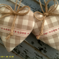 Door hangers dark linen check hearts