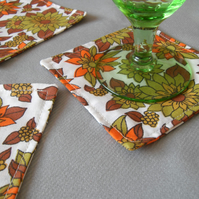 Fabric cocktail coasters set of 6 retro style tableware
