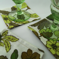Fabric coasters set of 6 funky green vintage print