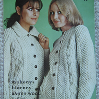 Vintage knitting pattern Aran jackets