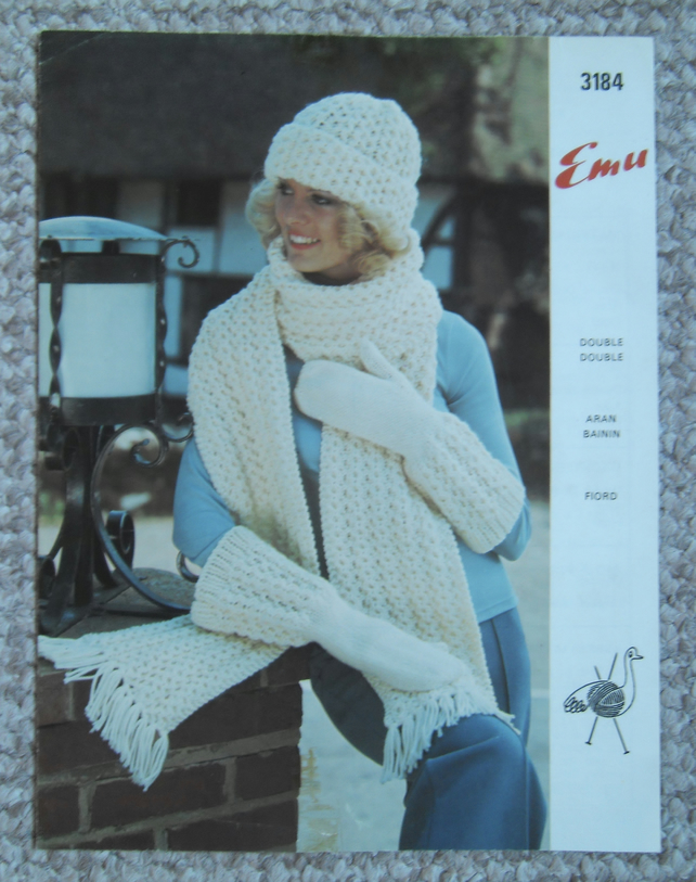 Vintage knitting pattern Aran hat, scarf and gauntlet mitts