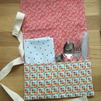 Cutlery wrap roll with napkin serviette bright colours