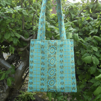 Tote bag in green and blue